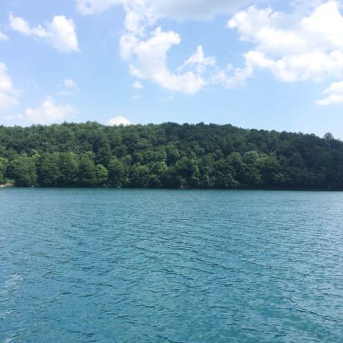 View from the boat on Lake Kozjak