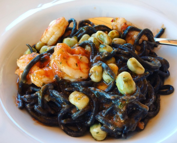 Black pasta with shrimps